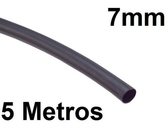 Espaguete/tubo Termo Retrátil Isolamento 7mm Preto 5 Metros