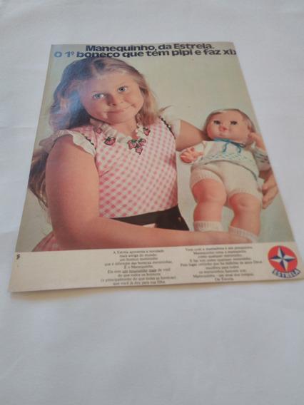 Propaganda Antiga Boneco Manequinho Briquedos Estrela 1974