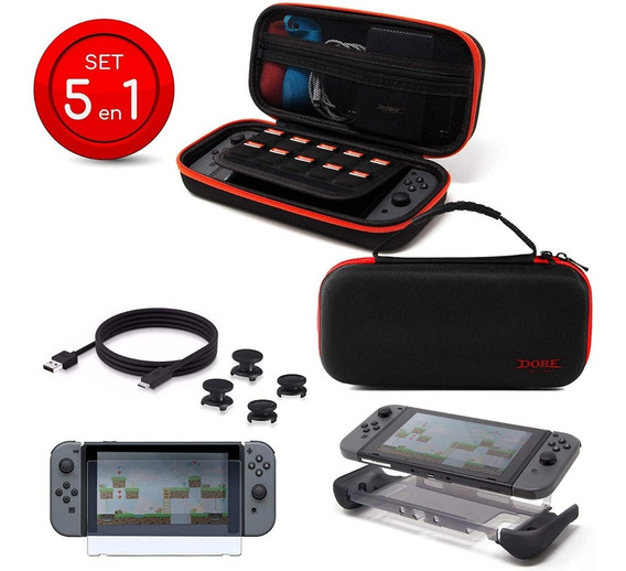 Kit Funda Nintendo Switch 5 En 1 Mica Cable Gomas Joycon Tpu