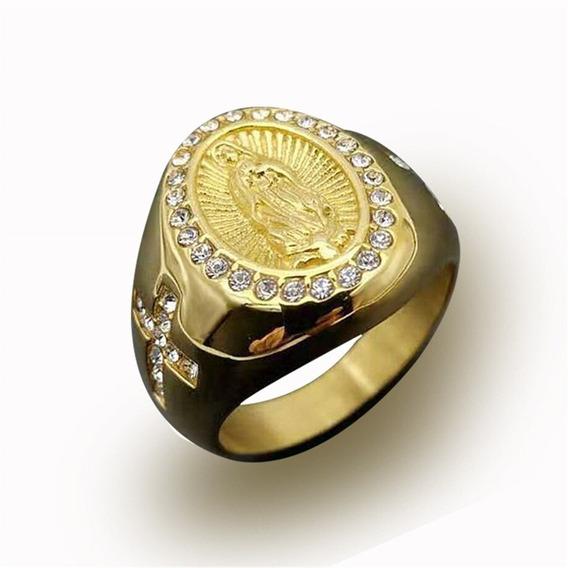 Anel Nossa Senhora Guadalupe Aço 316l Dourado