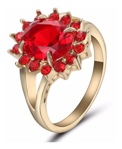 Anillo Acero Enchapado Oro Piedra Roja Circon