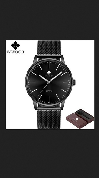 Relógio Wwoor Ultra Fino Slim Original Na Caixa + Cartão