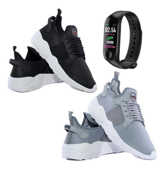 Kit 2 Pares Tênis Masculino Esporte Conforto + Relógio Smart