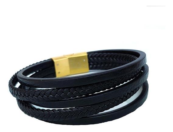 Bracelete Pulseira Masculina Couro Legitimo Banhada Ouro 18k