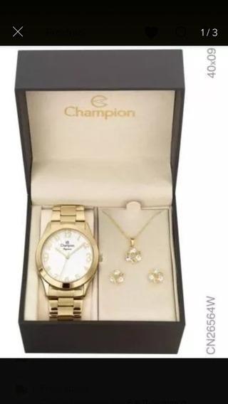 Relógio Feminino Champion Cn27901w + Kit BijuteriaChampion