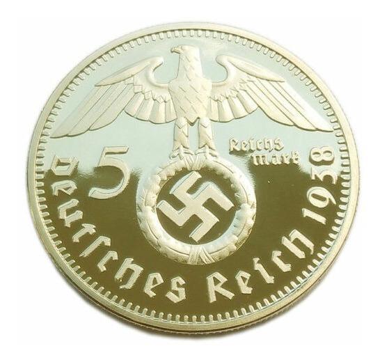 5 Reichsmark 1938 J Banho Ouro Nazista Veja Mais Moedas