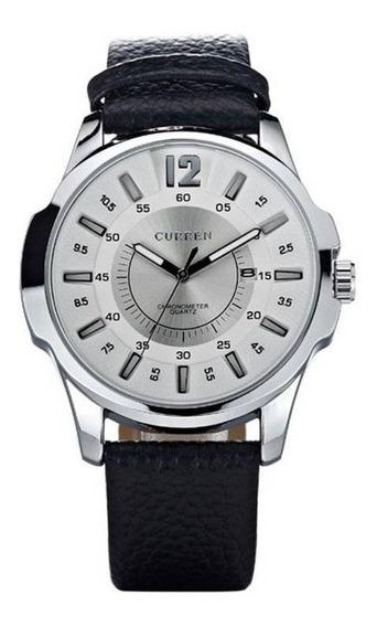 Relógio Masculino Curren Prata E Branco 1 Ano De Garan+nfe