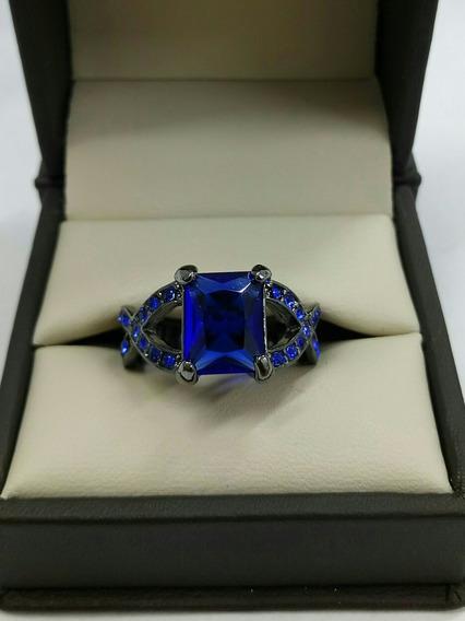 Anillo Zirconia Azul Platinado Oro Negro