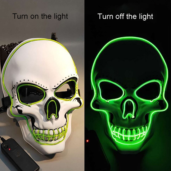 Máscara De Halloween Led Brillante Esqueleto Máscara Verde