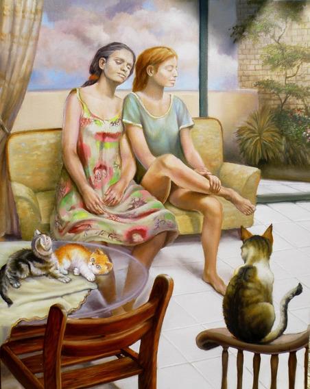 Pintura, Óleo S/tela, Mulheres E Gatos , 73cm/90cm