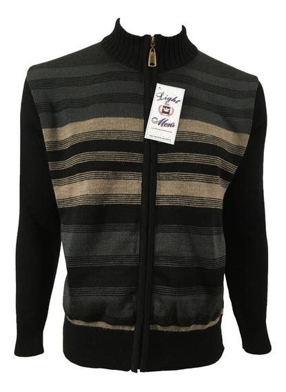 Suéter Negro Con Gris Y Beige Rayado Cierre Completo