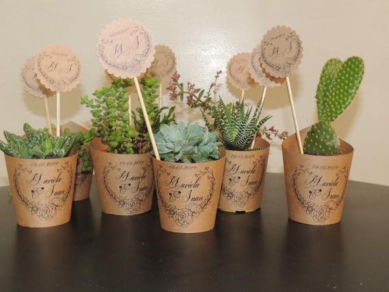 Souvenirs Cactus Suculentas Kraft Rustico, Boda Campestre