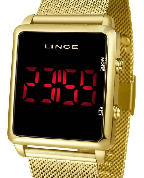 Relógio Digital Led Lince Feminino Dourado Mdg4596l Pxkx Nfe