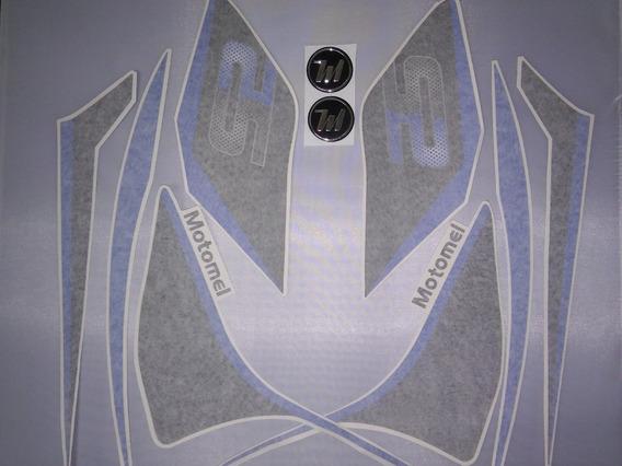 Juego Calcos (azul) P/moto Blanca Motomel S2 Original
