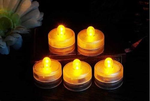 12 Velas Led Sumergibles Blancas Calidas Luminosos Cotillon