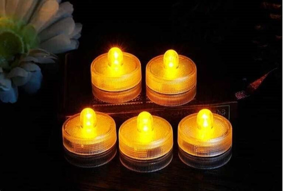 12 Velas Led Sumergibles Blancas Calidas Luminosos Cotillon