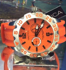 Relogio Masculino Nautica A16606g Cronografo Laranja Oferta