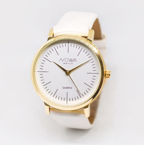 Relógio Nowa Feminino Dourado Couro Nw1407k
