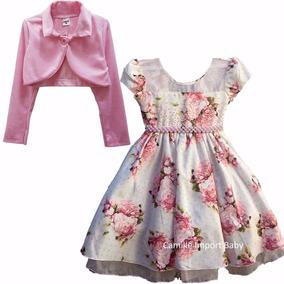 Vestido Infantil Festa Floral Luxo Jardim Encantado Bolero