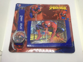 Kit Carteira + Relógio Infantil Heróis
