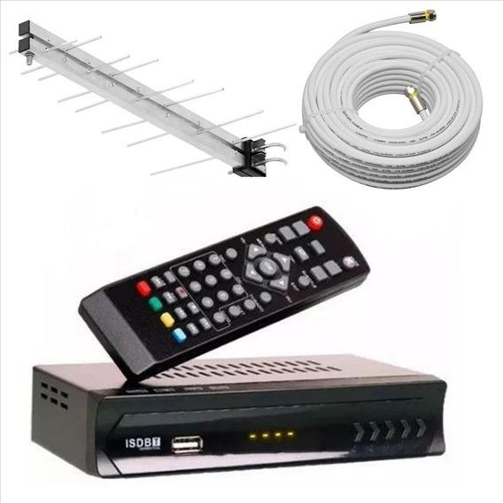 Kit Conversor Digital Lotus Antena Externa Cabo Montado