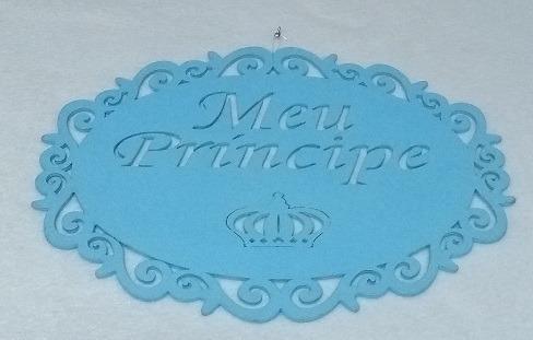 Kit Decoração Artesanal Chá D Bebê Coroa Azul Príncipe Usado