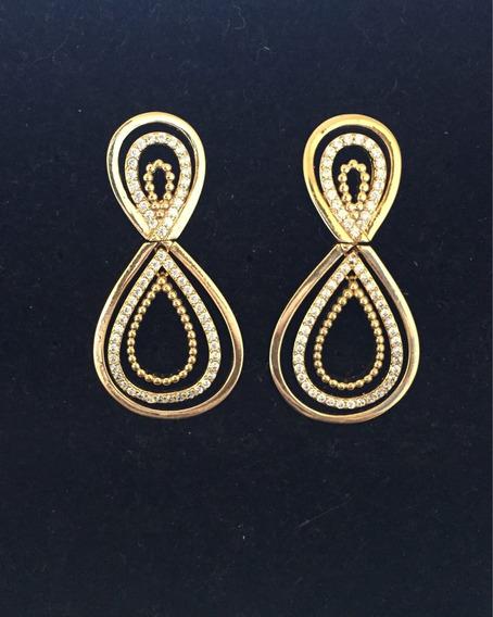 Brincos Feminino Banhado A Ouro Com Pedras De Zircônia