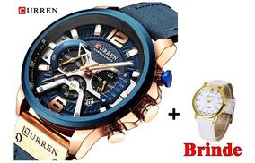 Relógio Curren 8329 Lançamento + Relógio Feminino Grátis