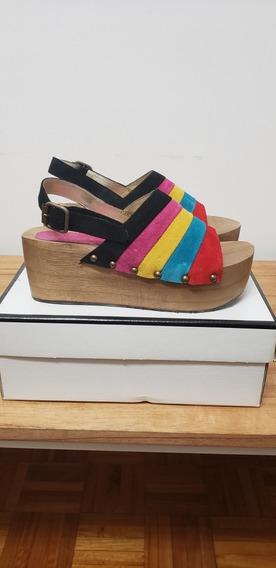 Zapato Sandalia Mujer Sarkany Cuero Gamuza