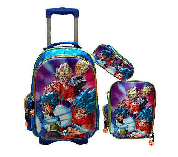 Kit Escolar Dragon Ball Mochila Carro Lapicera Lonchera