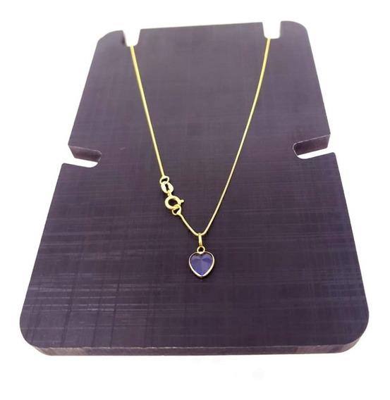 Gargantilha Em Ouro 18k 40cm Veneziana C/ Pingente Coração