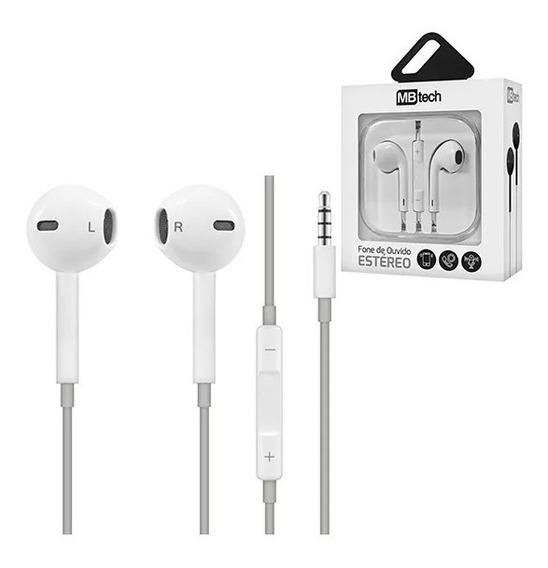Fone De Ouvido Com Microfone Branco 1,20 M- Mb Tech