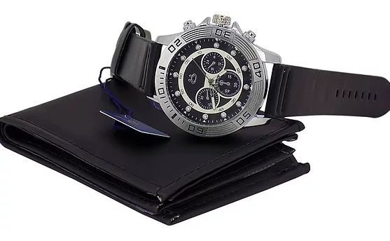 Relógio Masculino Original Prateado Couro + Caixa + Carteira