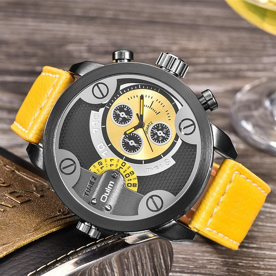 Relógio De Pulso Quartzo - Oulm Militar Cailuxe - Amarelo