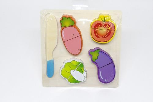 Imagem 1 de 1 de Comidinha C/ Velcro Para Corte Brinquedo De Madeira Vegetais