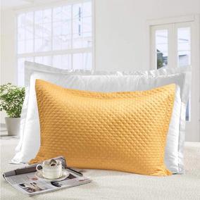 Porta Travesseiro Gigante Com 4 Abas Moderno Mostarda Realce