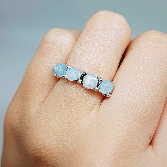 Anel Feminino Cor Prata Com Pedra Branca Azulada
