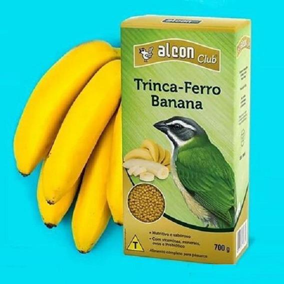 4 Cx. Alcon Club Trinca-ferro Banana Ração P/ Pássaros 700g