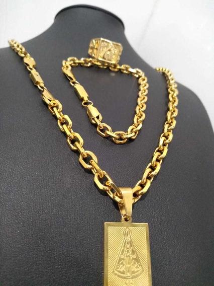 Cordão Banhado A Ouro 70cm +pingente Santa + Pulseira + Anel