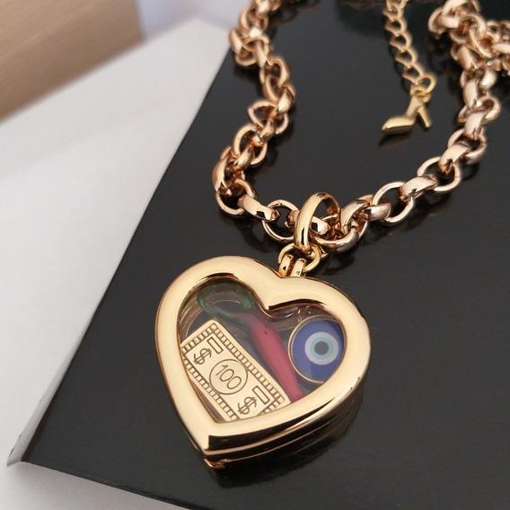 Colar Relicário Coração Com Pingentes Dourado Sigvara