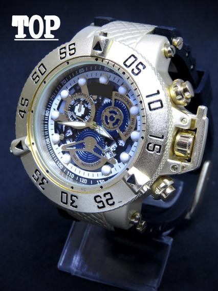 Relógio Subaqua Dourado Gold Aço Masculino + Caixa + Carteira + Fréte Grátis