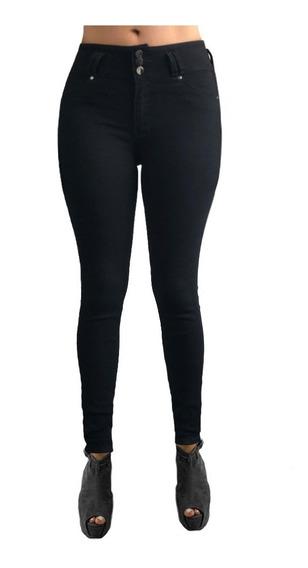 Jeans Dama Corte Colombiano Mezclilla Stretch Negra Cintura