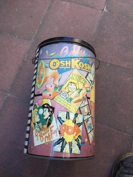 Lata Antigua De Osh Kosh Con Manija Y Tapa, Decorada