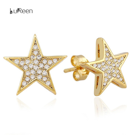 Brinco Estrela De Luxo Banhado A Ouro 18k