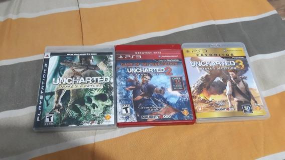 Pacote 3 Jogos Uncharted 1, 2 E 3 Para Ps3 [usado]