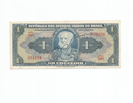 C 009 - Cédula De 1 Cruzeiro - 1944 (autografada) Mbc