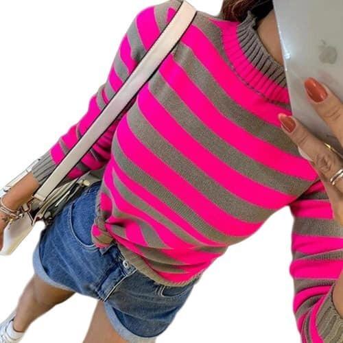 Blusa De Frio Trico Tricot Listrado Neon Modelo Inverno 2019
