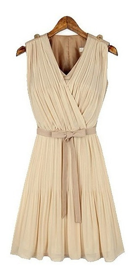 Hermoso Vestido Beige Moda Asiatica Med,