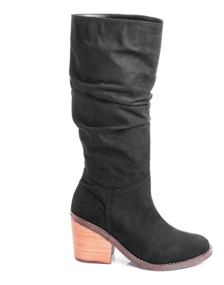 Botas Zapatos Mujer Caña Alta Arrugadas Elastizadas Con Taco