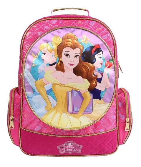 Mochila Disney Princesas Bela, Cinderela, Branca Neve - Kit